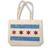 Distressed Chicago Flag Tote Bag