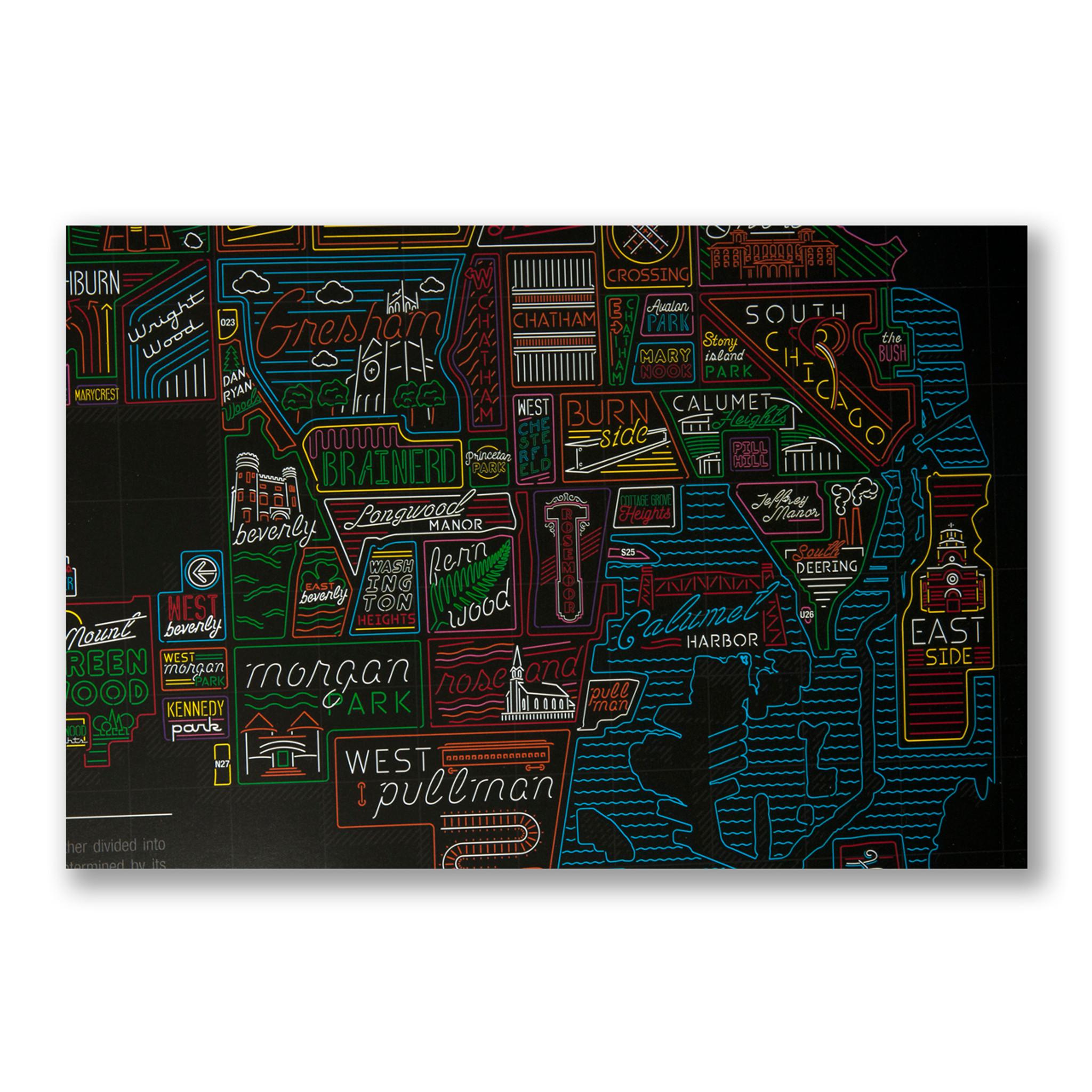 Neon Neighborhood Map of Chicago on