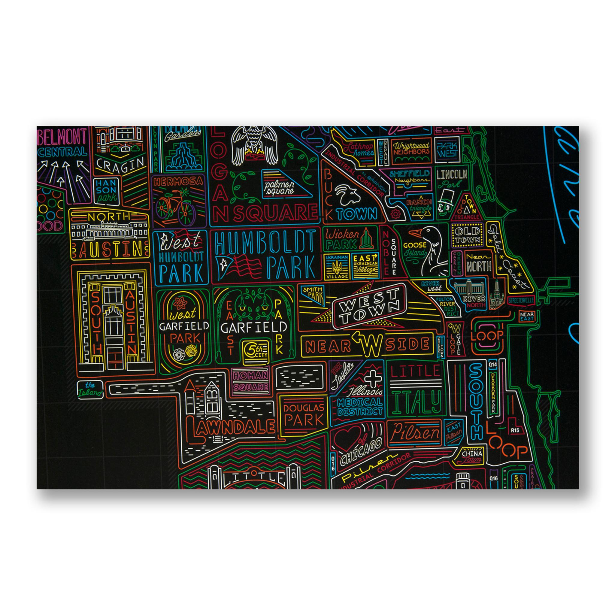 Douglas Park Chicago Map.Neon Neighborhood Map Of Chicago