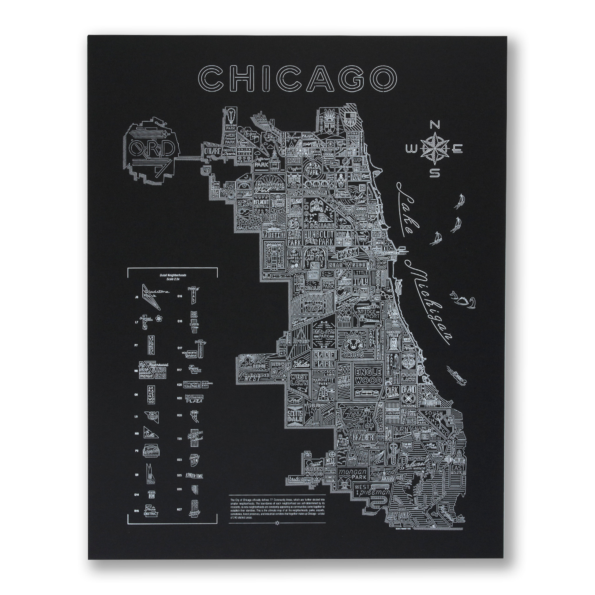 photograph regarding Printable Maps of Chicago known as Neon Local Map of Chicago Display screen Print