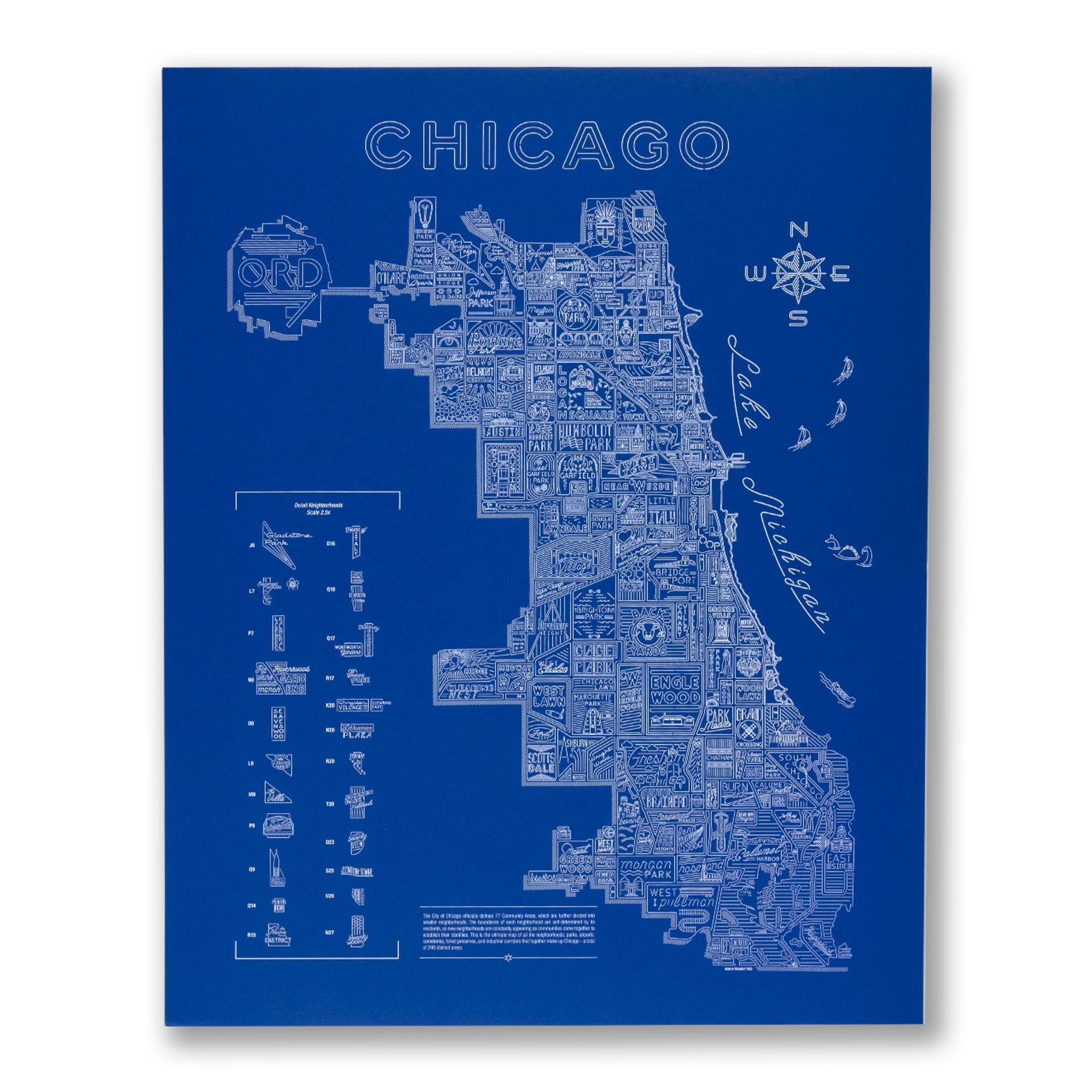 Neon Neighborhood Map of Chicago Screen Print on