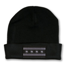 Greyscale Chicago Flag Watch Cap
