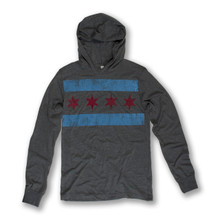 Distressed Chicago Flag Jersey Pullover