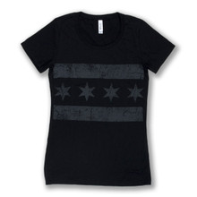 Greyscale Chicago Flag Tee - Women's