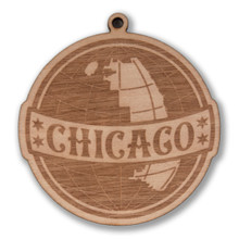 Chicago Globe Wood Ornament