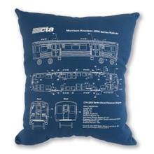 Chicago El Train Schematic Decorative Pillow