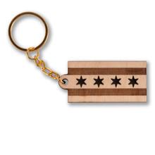 Chicago Flag Wooden Keychain