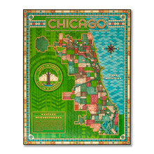 Prairie Style Stained Glass Neighborhood Map Poster