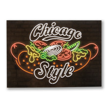 Chicago Style Hot Dog Neon Postcard