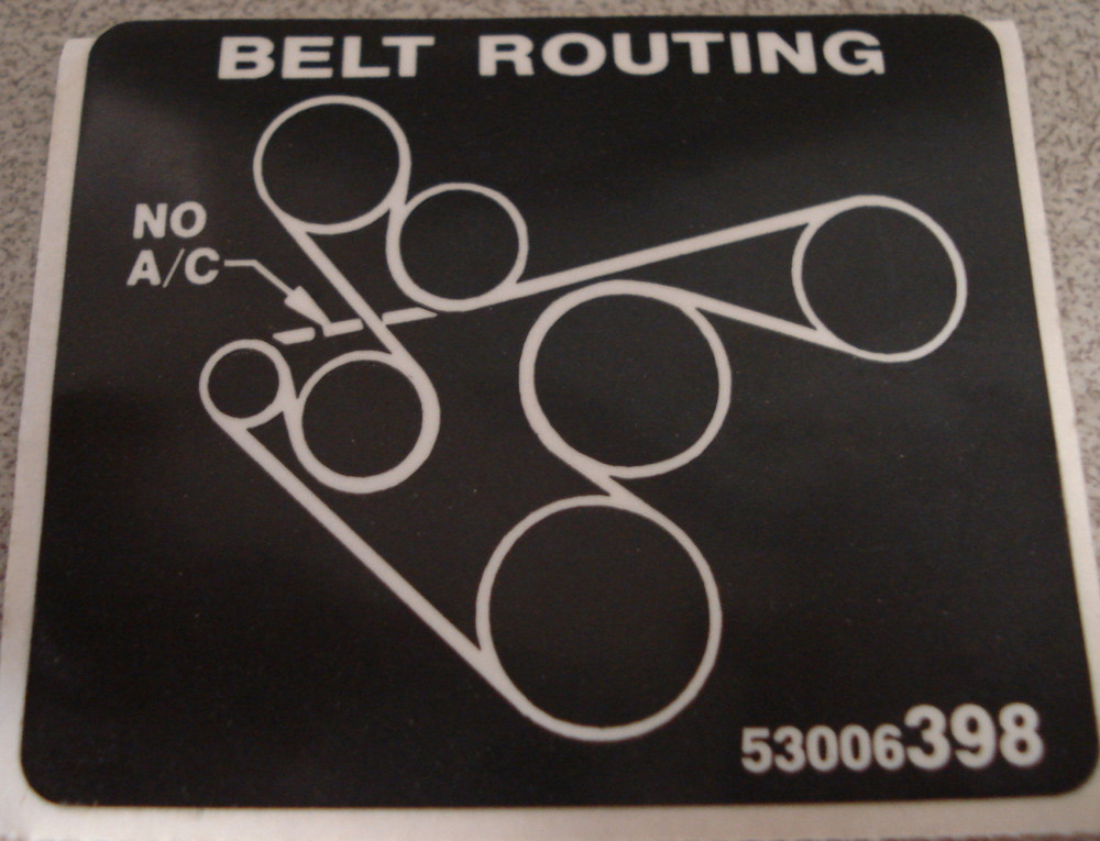 91 01 Yj Tj Belt Routing Decal Collins Bros Jeep