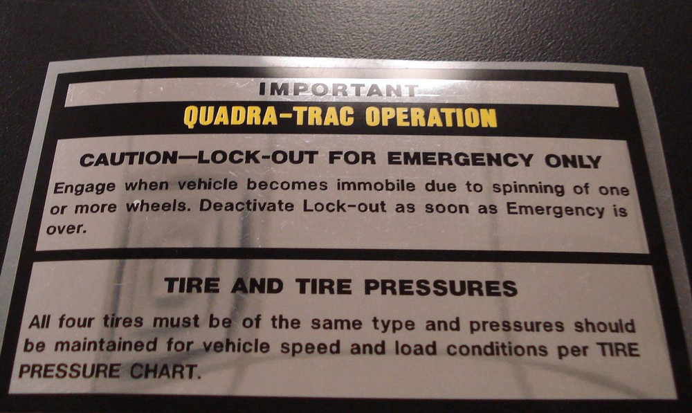 Jeep Decal Tire Inflation Chart For Glove Box Lid