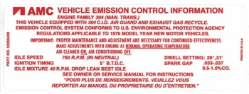 '76 CJ Emission Decal for AMC 304 V8 & Manual Trans