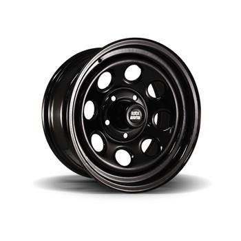 """16x8"""" Black Steel Rock Wheel"""