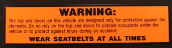 Seat Belt Warning Decal