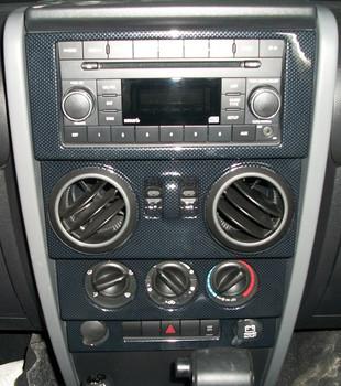 '07-'10 JK w/Power WindowsTrailMax Dash Overlay Kit (Carbon Fiber)