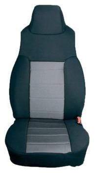 '97-'02 TJ/LJ Poly Cotton Front Seat Covers (Gray & Black)