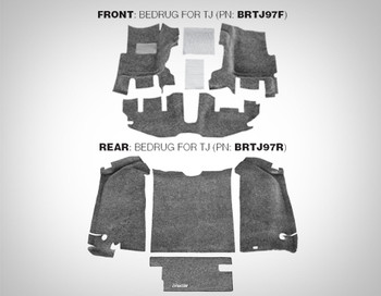 '97-'06 TJ Rear BedRug Carpet Kit (Gray)
