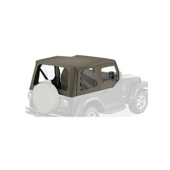 '03-'06 TJ Sailcloth Replace-A-Top w/Upper Door Skins & Clear Windows (Khaki Diamond)