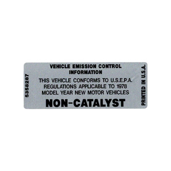 1978 Non-Catalyst Decal