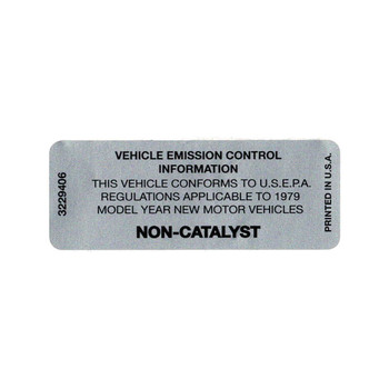 1979 Non-Catalyst Decal