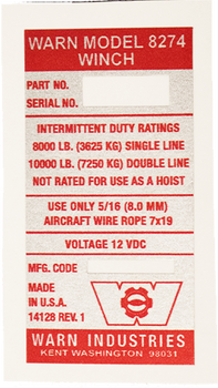 Warn 8274 Original Winch Decal (14128 REV. 1)
