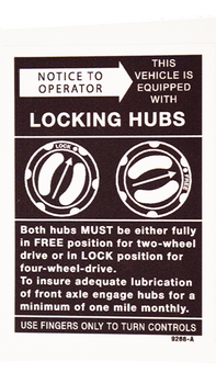 Locking Hub Dash Decal
