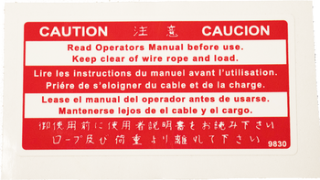 Warn Winch Caution Decal