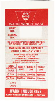 Warn 8274 Winch Decal