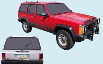 1987-89 Jeep Cherokee Chief SJ Truck Decal Kit (Black) (PGI-8789JCC-BLACK)