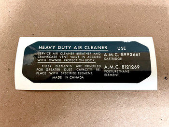 """Heavy Duty Air Cleaner"" Decal for 74-83 Jeep CJ"