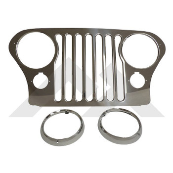 Stainless Steel Jeep CJ Grille and Headlight Bezels