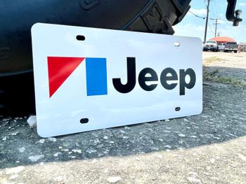 AMC Jeep White Aluminum License Plate