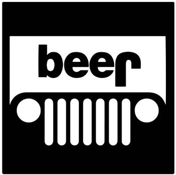 Jeep Beer Sticker (White)