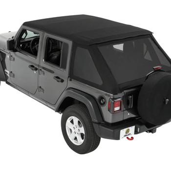 Trektop® Slantback Soft Top Jeep 2018-2021 Wrangler JL 4-door in Black Diamond