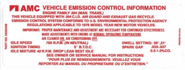 '76 CJ Emission Decal for AMC 304 V8 & Manual Trans