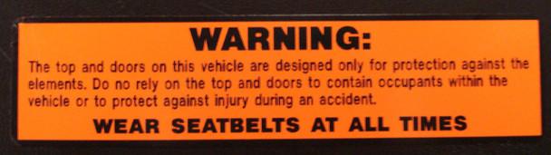 Seat Belt Warning Decal