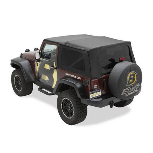'11-Current JK 2dr Sailcloth Replace-a-Top, tinted windows, w/o upper door skins (Black Diamond)