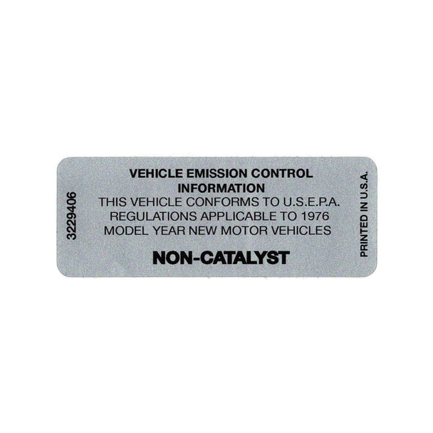 1976 Non-Catalyst Decal