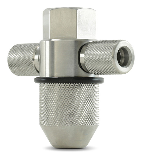 "Accustream DiaLine Cutting Head. Assembly includes: dual-inlet assembly 3/8"" or 3/16"" inlet, nozzle nut size standard, 3"" or 4""."