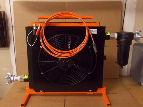 40 Micron Air Filter/Separator with a 1QT reservoir and automatic drain. 25FT, 16.2 Pumpkin cord with clamps. Steel Constructed Stand, Fin Guard and Handle. Maximum PSI: 150PSI. Approximate Dimensions Assembled: TBD. - Part # ACE400-12V-400CFM. Custom options: inlet & outlet setups with ball valves, Power cords in 50' and 100' increments, 2 claw, 4 claw & ground joint fittings