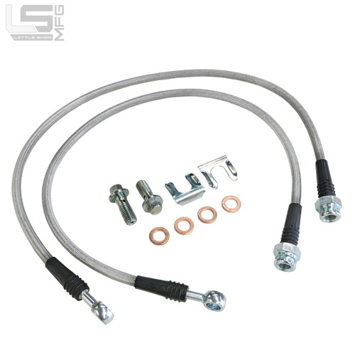 Braided Stainless Hoses - 82-03 S10 Factory Front Replacement