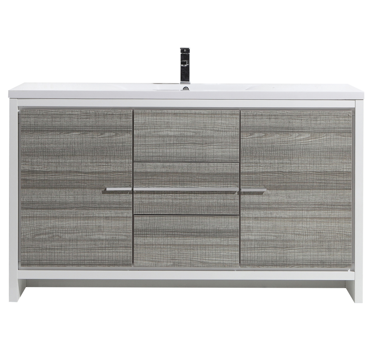 Modern Bathroom Cabinet Doors With Moreno Dolce 60u2033 Signle Sink Ash Gray Modern Bathroom Vanity W Doors
