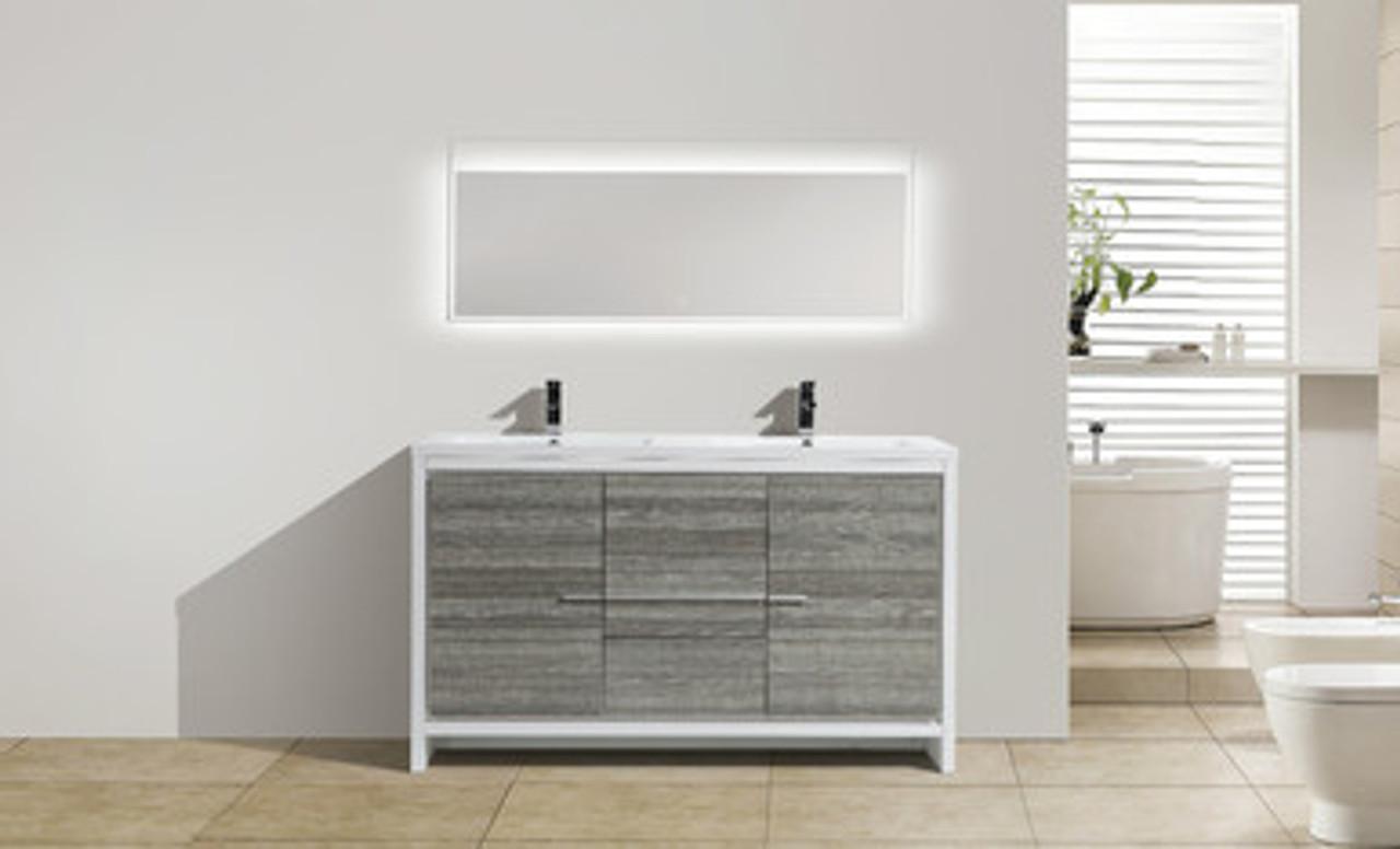 Moreno Dolce 60 Double Sink Ash Gray Modern Bathroom Vanity W 2 Doors 3 Drawers And Acrylic Sink Bathroom Vanities Wholesale Inc
