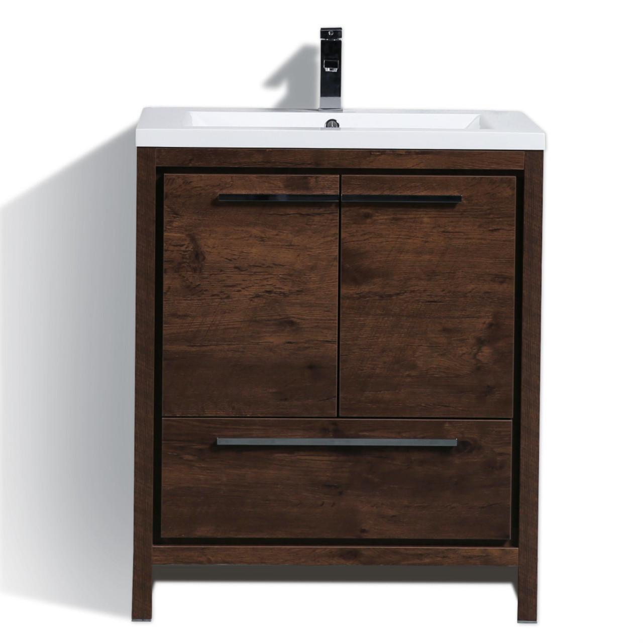 Dolce 30 Rose Wood Modern Bathroom Vanity And Acrylic Sink Bathroom Vanities Wholesale Inc