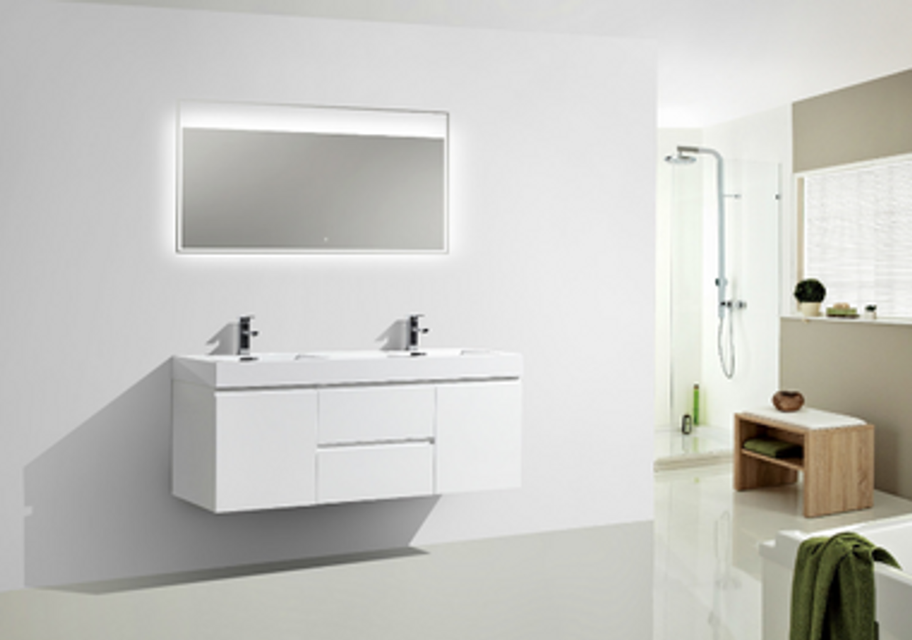 Moreno Mof 60 Double Sink High Gloss White Wall Mounted Modern Bathroom Vanity With Reeinforced Acrylic Sink Bathroom Vanities Wholesale Inc