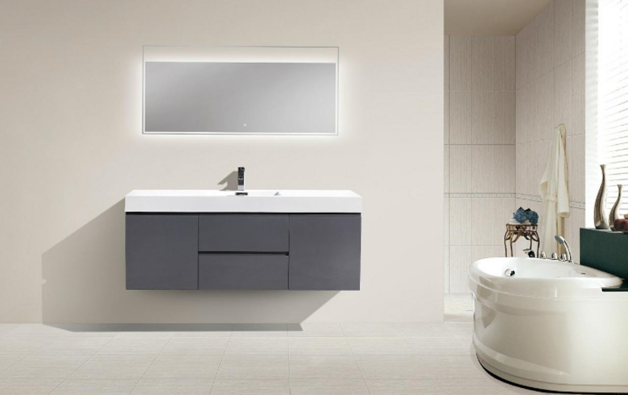 Astonishing Moreno Mof 60 Single Sink High Gloss Grey Wall Mounted Modern Bathroom Vanity With Reinforced Acrylic Sink Download Free Architecture Designs Lectubocepmadebymaigaardcom