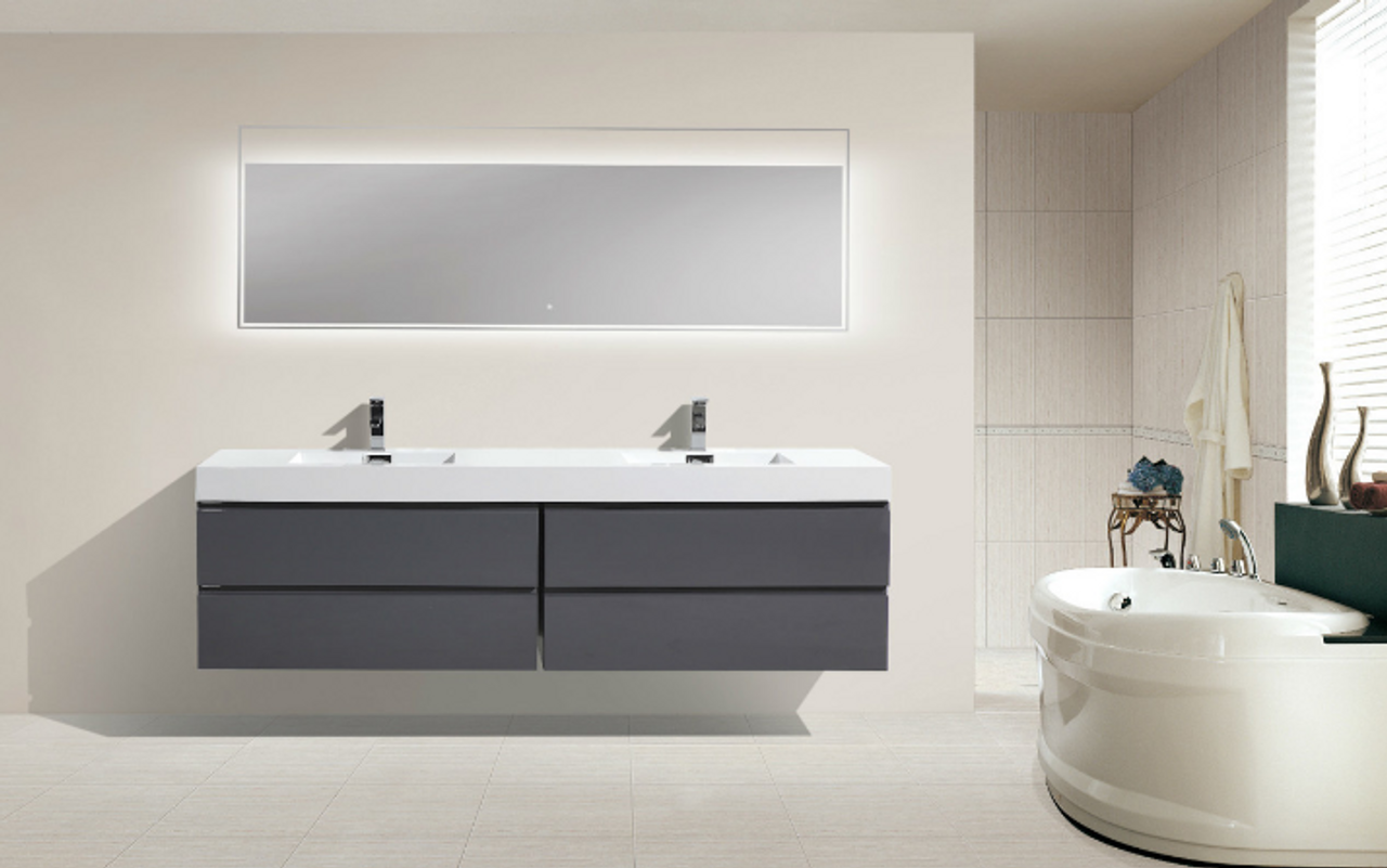 Astounding Moreno Mof 80 High Gloss Grey Wall Mounted Modern Bathroom Vanity With Reinforced Acrylic Sink Download Free Architecture Designs Lectubocepmadebymaigaardcom