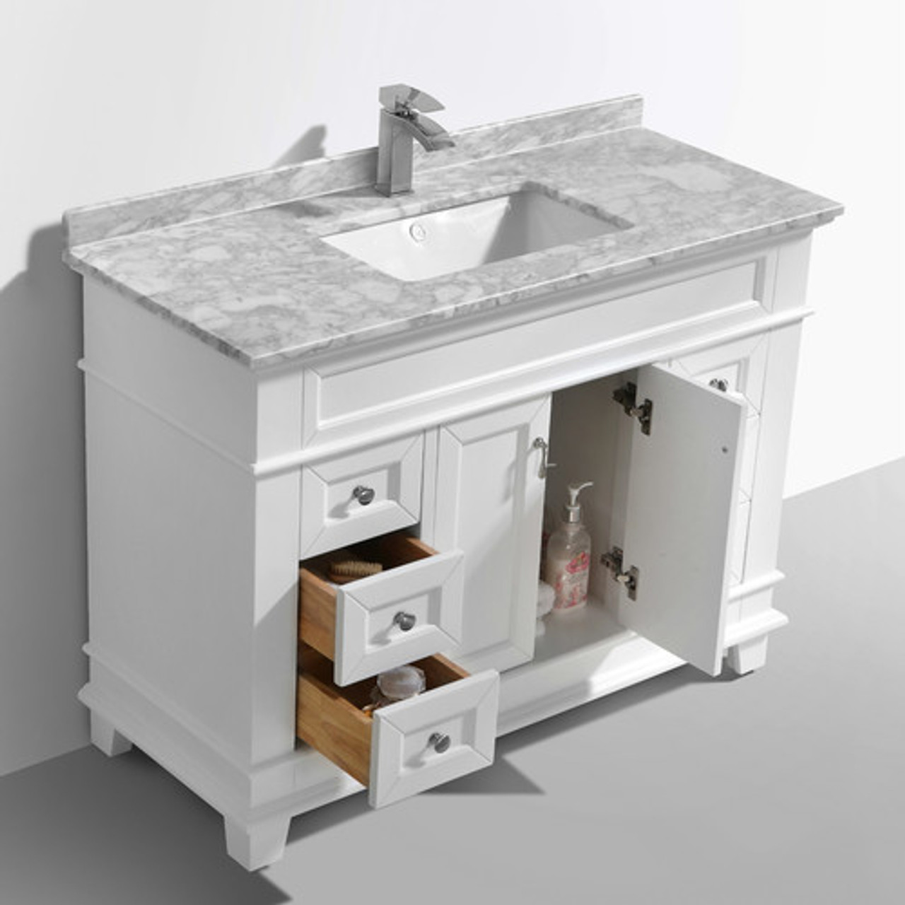 Moreno Fayer 48 White Bathroom Vanity With Carrara Marble Top