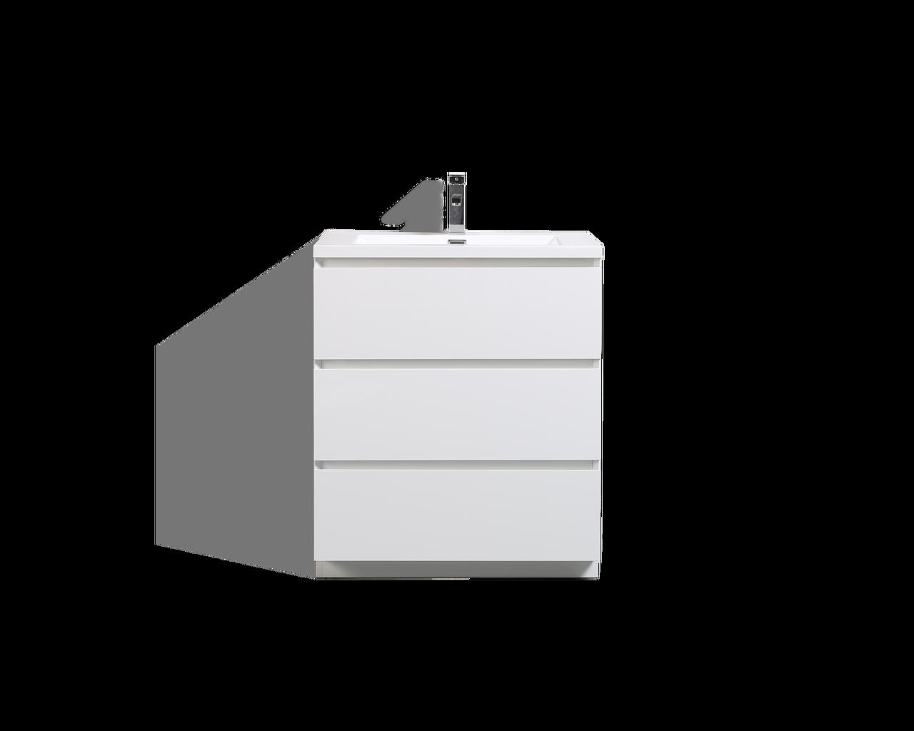 Moa 30 Gloss White Modern Bathroom Vanity W 3 Drawers And Acrylic Sink Bathroom Vanities Wholesale Inc