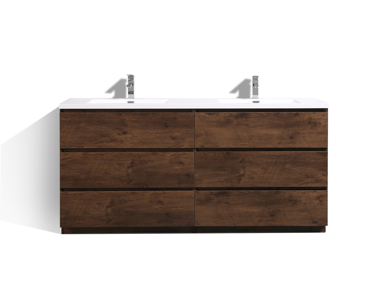 MOA 72″ DOUBLE SINK ROSEWOOD MODERN BATHROOM VANITY W/ 6 DRAWERS AND  ACRYLIC SINK
